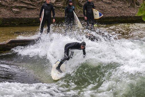 Ice Creek, Eisbach, Surfer, Wild Water, Rushing Water