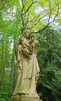 Forest, Statue, Nature, Sculpture, Madonna