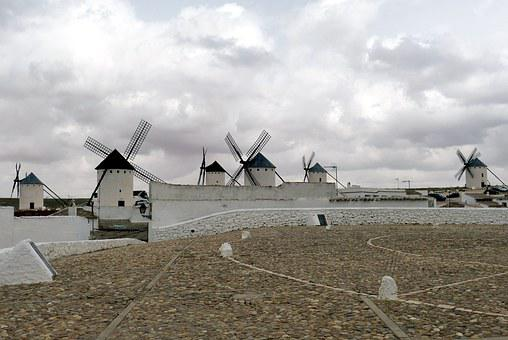 Windmill, Spain, Castile, La Mancha, Don Quijote