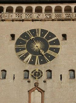 Clock, Wall, Altpoertel, Speyer, Time, Hour, Minute