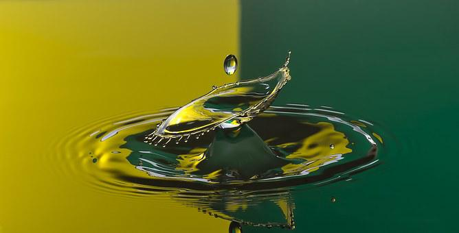 Water Drop, Drop, Yellow, Green, Water Drops, Highspeed