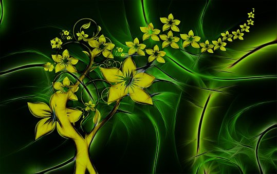 Flora, Entwine, Fractals, Flowers, Abstract, Yellow