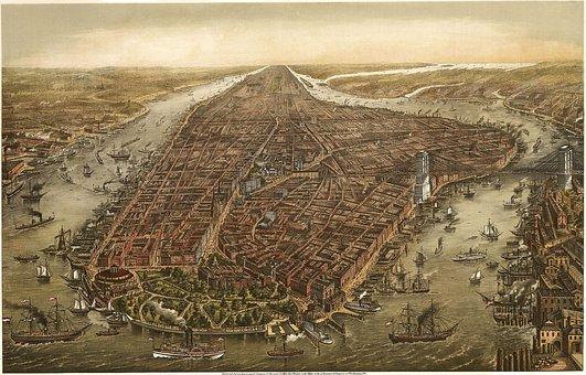 Manhattan, New York City, 1870, Map, Old