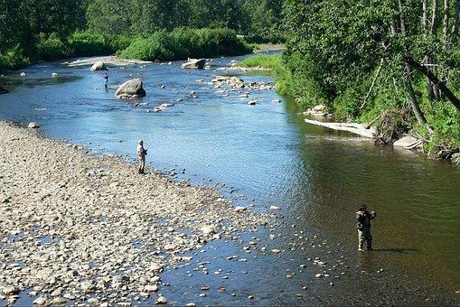 River, Fishing, Man, Fisherman, Anchor River, Alaska