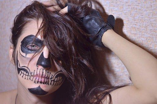Aqua Make-up, Photoshoot, Girl, Skull