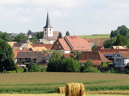 Berstett, France, Village, Buildings, Church