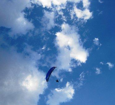 Parachute, Blue, Drifting, Blue Sky, White Clouds