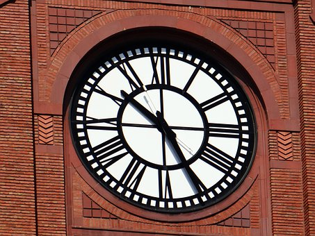Clock, Building, Red Brick, Large, Mechanical