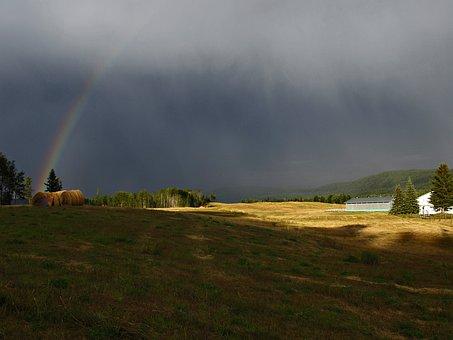 Thunderstorm, Rainbow, Field, Landscape, Farm, Summer