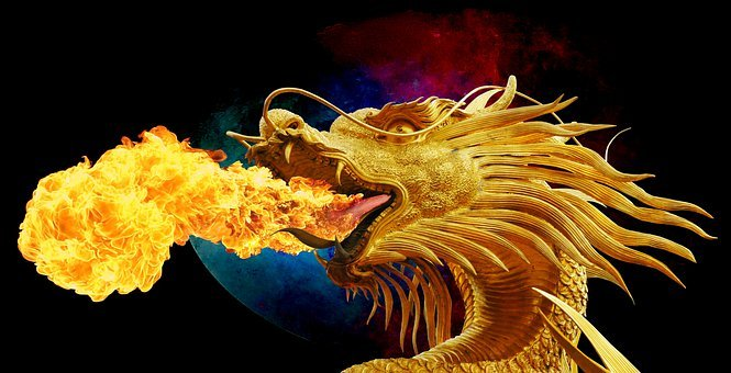 Dragon, Fire Breathing, Golden Dragon, Broncefigur