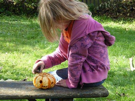 Girl, Play, Pumpkin, Children, Tinker, Halloween