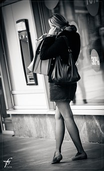 Girl, Woman, Street Life, Downtown, Black And White