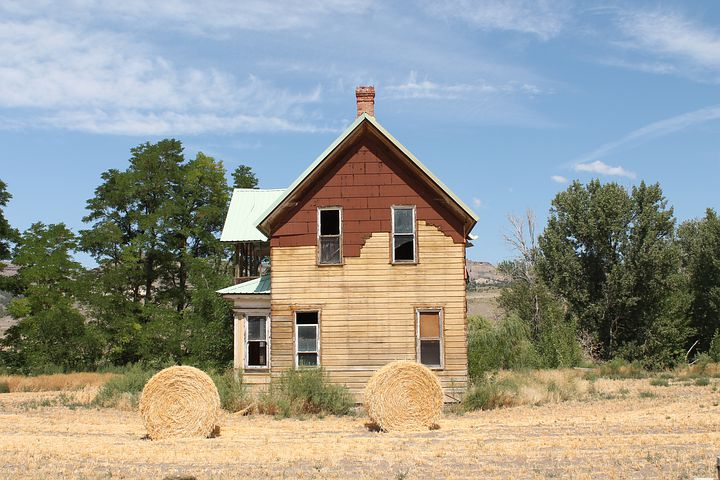 House, Old, Hay, Rolled Hay, New, East, Oregon