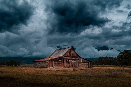 Log, Cabin, Barn, Field, Rural, Countryside, Nature
