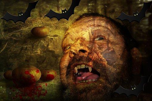 Halloween, Man, Vampire, Bats, Background, Pumpkin