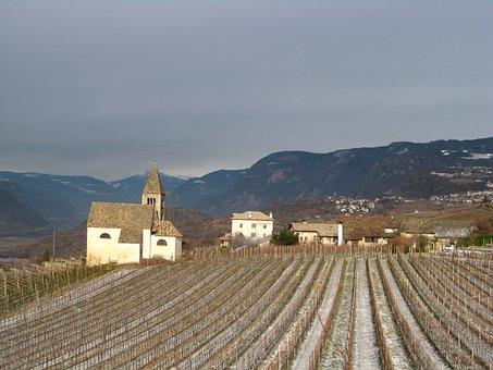 Mazon, South Tyrol, Mountains, Field, Village, Church
