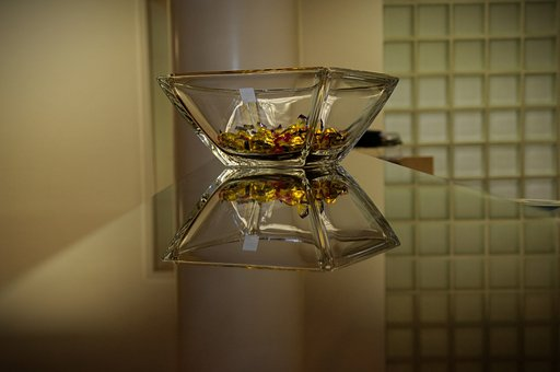 Counter, Glass Bowl, Candy, Mirroring