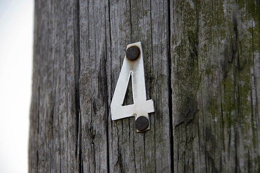 Number Four, Four, Old Wood, Old, Wooden Pole