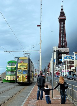 Blackpool, Trams, Pleasure, Beach, Transportation