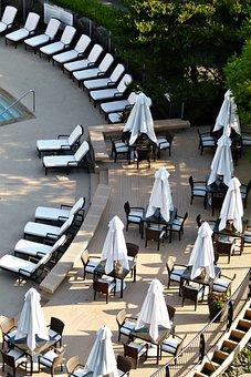 Umbrellas, Sunloungers, Arrangement, Pool Site