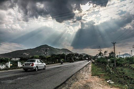 Road, Sun, Rays, Travel, Landscape, Sunset, Nature