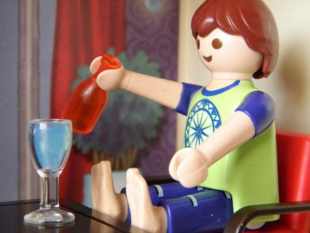 Toys, Playmobil, Sit, Drink, Table, Break, Rest, Cup