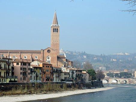 Verona, River, Adige, Landscape, Church, Campanile