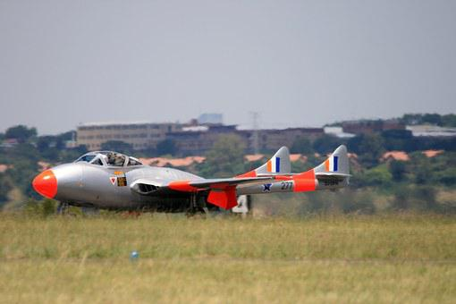 Vampire Jet, Jet, Aircraft, Runway, Take-off, Shiny