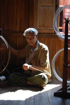Myanmar, Old, Man, Silk Spinning, Traditionally