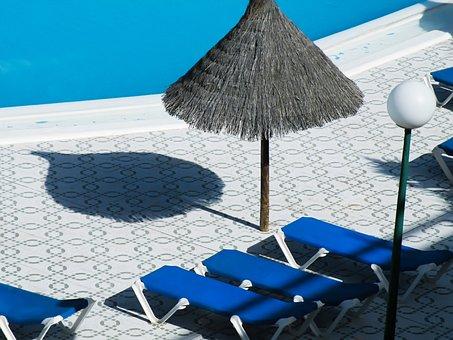 Umbrella Straw, Pool, Swimming Pool, Summer, Holidays
