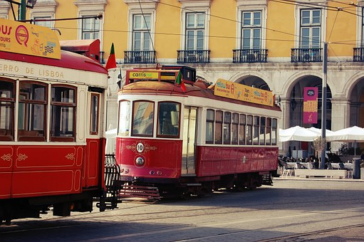 Street Cars, Lisbon, Lisboa, Portugal, Tram, Urban