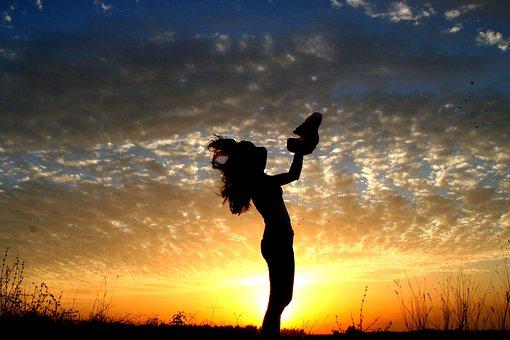 Girl, Sunset, Sun, Bounce, Sky Clouds, Silhouette