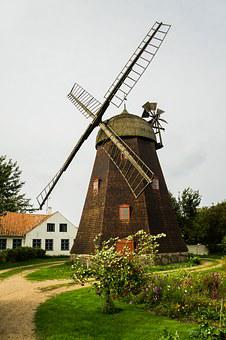 Windmill, Holzmühle, Brown, Holiday, Away, Plant, Green