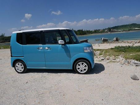 Okinawa, Sea, Car, Honda, Nbox, Blue Sky, Drive