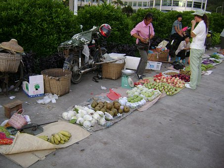 China, Sidewalk Vendor, Vendor, Market, Fruit, Juicy