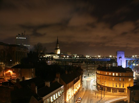 Newcastle, City, Night, Skyline, Clouds, Quayside
