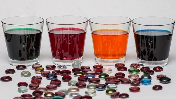 Still Life, Glasses, Color, Solutions, Glass Nuggets