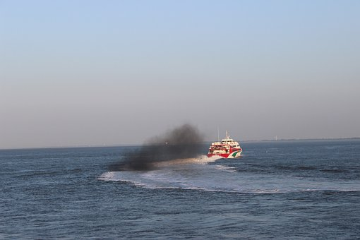 Smoke, Ship, Sky, Elbe Helgoland