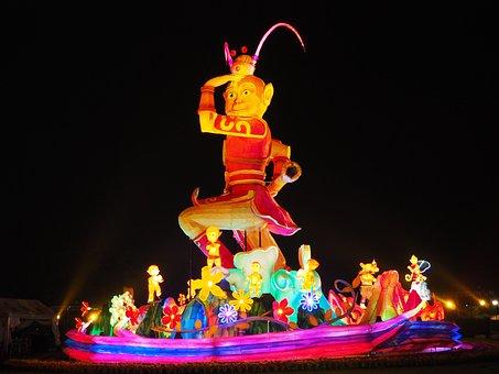 Taiwan, Fo Guang Shan, Monkey Lamp