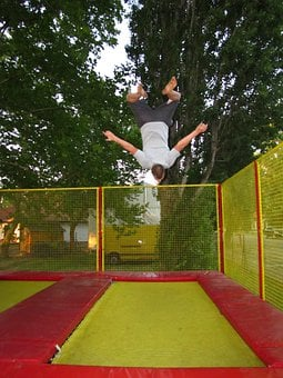 Sports, Trampoline, Bounce Man, Go To, Somersault