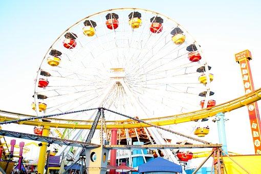 Ferris Wheel, Lunapark, Scene, Fun, Happy, Colourful