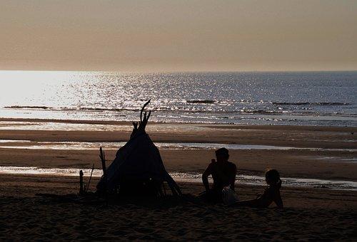 Beach, Sea, Vacations, Human, Child, Abendstimmung