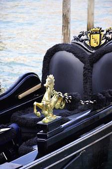 Gondola, Venice, Gold, Italy, Water, Channel, Lagoon