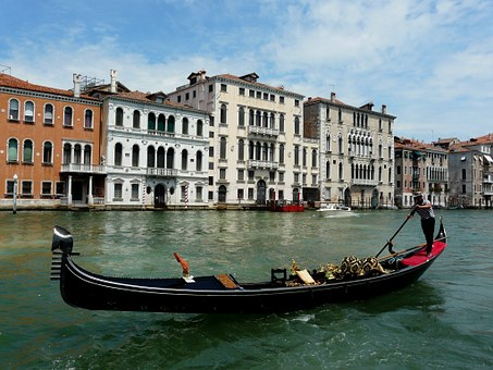 Boat, Gondola, Grand-canal, June, Summer, Italy, Venice