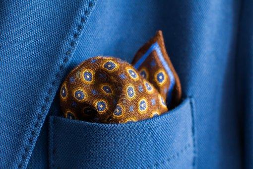 Handkerchief, Pocket, Blue, Brown, Fabric, Jacket