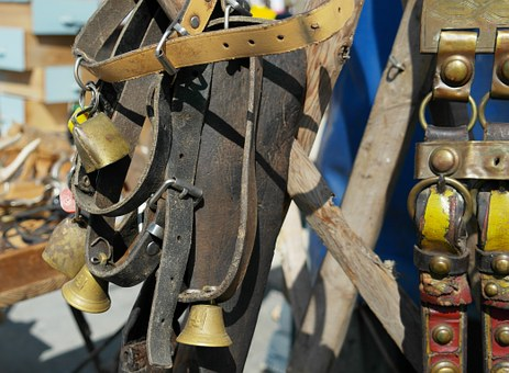 Harness For Horses, Belts, Leather, Bell, Old Antique