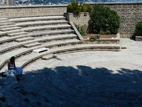 Woman, Lonely, Monaco, Fort Antoine, Fortress, Antoine