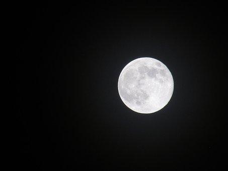 Full Moon, Night Sky, Night, Midnight, Moon