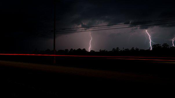 Clouds, Lightning, Lightning Strike, Night, Sky, Storm