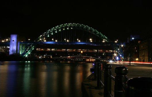 Newcastle, Gateshead, Quayside, Night, Tyne, River